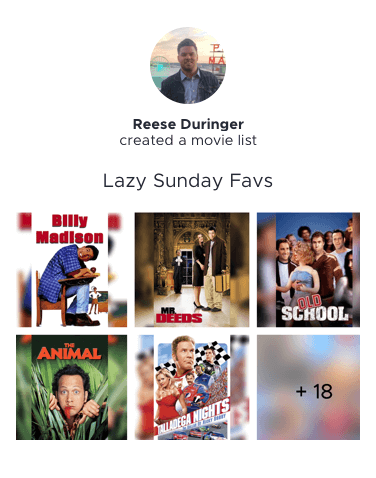 Reese's Lazy Sunday Favs Movie List Preview